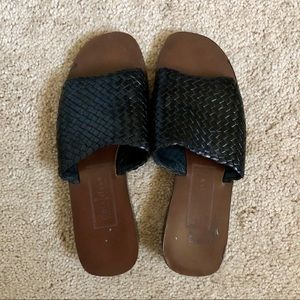 Cole Haan Woven Braided Leather Slides Sandals